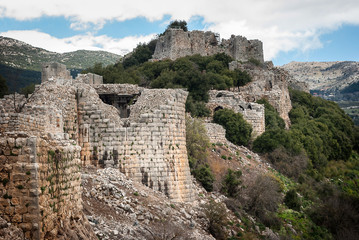 Ruins of the Nimrod Fortress (Mivtzar Nimrod), a medieval fortress situated in the northern Golan Heights, Israel.