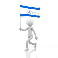 Small Person Walking with Israel Flag in a Hand