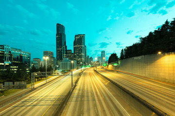 Interstate 5 and downtown at dawn, Seattle, Washington State, USA