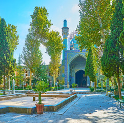 The pleasant garden of Chaharbagh madraseh, Isfahan, Iran