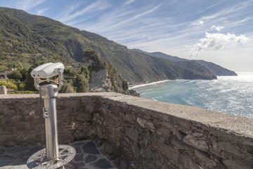 Binoculars balcony overlooking mediterranean sea in italian village of Corniglia, Cinque Terre, Ligury, Italy.