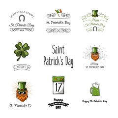 Set of St. Patricks Day Retro Holiday Badges.  Greetings Card Design. Saint Patricks Day Background.