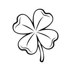 Clover four-leaf contour. St. Patrick s day. Silhouette.  illustration isolated on white