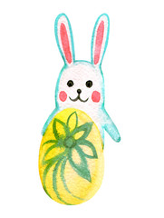 Funny easter rabbit with egg, watercolor illustration