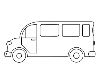 Outline drawing of a passenger bus on white background