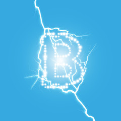 Digital bitcoins symbol with light lightning effect on transparent backgraund.