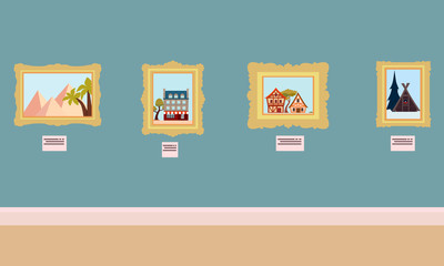 Interior Art Gallery. Flat design. Vector illustration