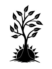 A growing tree against the backdrop of the rising sun. The tree of Life. Black and white sign, logo