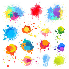 Vector abstract paint splat, paint splashes color background.