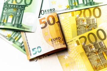 Euro banknotes close up. Several hundred euro banknotes
