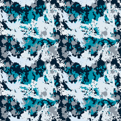 Dark blue, light blue and navy urban UFO winter camouflage with colorful spots