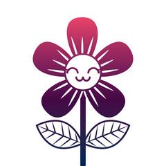 beautiful flower cute kawaii cartoon vector illustration degrade color design