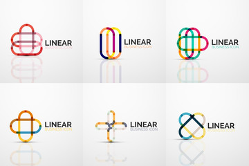 Set of abstract flower or star minimalistic linear icons, thin line geometric flat symbols for business icon design, abstract buttons or emblems