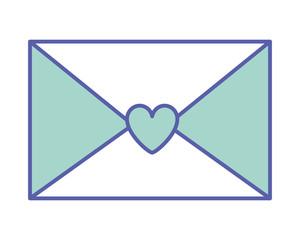 envelope message letter romance vector illustration green pastel image