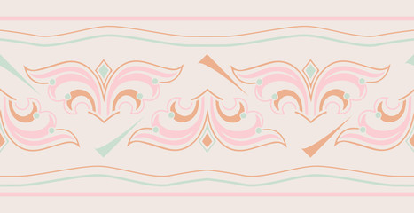 Vintage seamless colorful  horizontal border