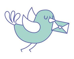sweet bird with envelope message in beak cartoon vector illustration green pastel image