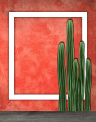 Background of a wall with cactus, frame, poster