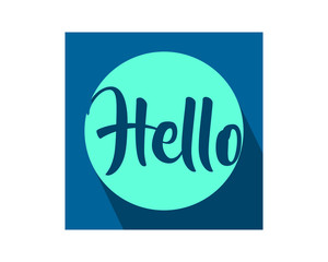 blue hello typography typographic creative writing text image icon