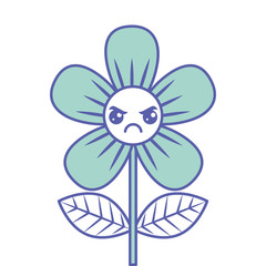 beautiful flower angry kawaii cartoon vector illustration green design