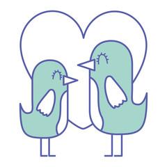 beauty birds lovely heart love decoration vector illustration green design