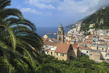 View of town and coast, Amalfi, Italy