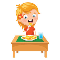 Vector Illustration Of Kid Eating Meal