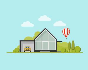 modern house with garden and balloon. Family home. Flat design vector concept illustration.