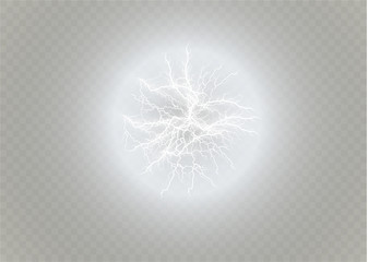 Ball lightning. Thunder isolated on transparent background. Thunderbolt in sky. Electricity blast storm. Electric flash of lightning.Vector illustration