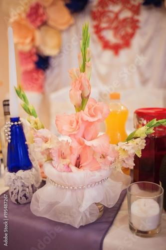 Wedding Table Decoration Peach Blossom Gladiolus Flowers In A Vase