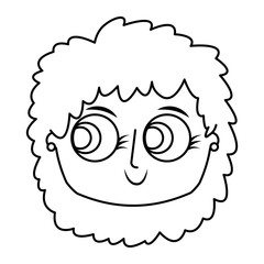 beautiful young teenager happy face girl smiling vector illustration thin line