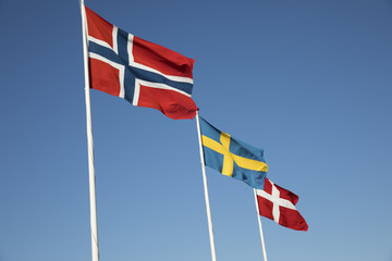 Scandinavian country flags against blue sky, Hornbaek, Kattegat Coast, Zealand, Denmark, Scandinavia, Europe