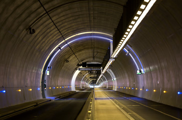 Empty, modern tunnel for pedestrians, cyclist and public transport. Lyon, France.