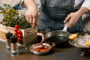 Chef cooks spreadsheets octopus tentacles. Chef lays octopus on tomato sauce. Gourmet Restaurant