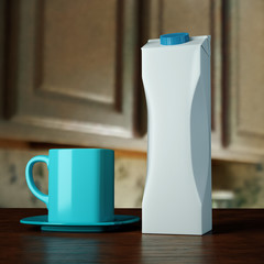Presentation 3d mockup blank template tetra pak package for juice drinks milk on a wooden table with cian mug.