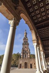 Plaza España, iconic city point, Sevilla, Andalucia, Spain.