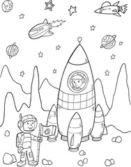 Stores à enrouleur Cartoon draw Rocket Astronaut Space Vector Illustration Art