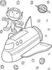 Astronaut Space Walk Vector Illustration Art