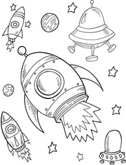 Rocket Outer Space Vector Illustration Art
