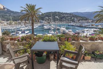 Marina view port in balearic village of Port-Soller, Majorca island, Balearic Islands, Spain.