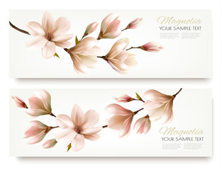 Nature spring banners with beautiful magnolia branches. Vector.