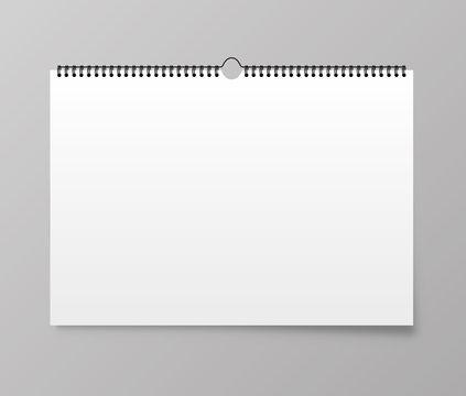 Calendar mockup. Calendar hangs on the wall. Vector