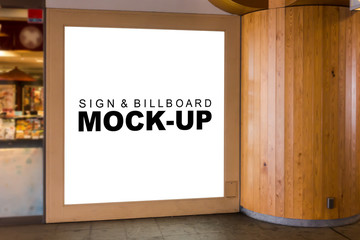 The mock up a wooden signboard at shopping mall