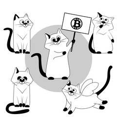 Cat. Vector Cats set black and white