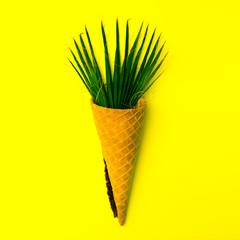Palma leaf ice cream Minimal flatlay art