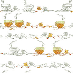 Tea in a glass cup with hearts on tea bags. A sketch of a cup of tea with a romantic mood. Tea with Love.