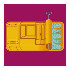 PUBLIC TRANSPORT. A METRO WAGON FILLED WITH PEOPLE. LIKE A CAN OF SARDINES. POPULAR EXPRESSION.