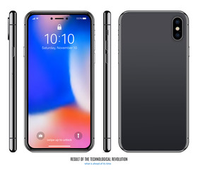 smartphone mockup in black color with colored screen front, back and side on white background. stock vector illustration eps10
