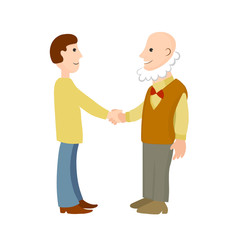 Handshake of old and young men. Vector color cartoon image.