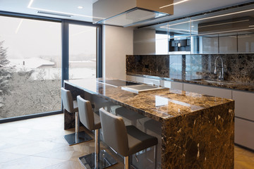 Modern marble kitchen with island