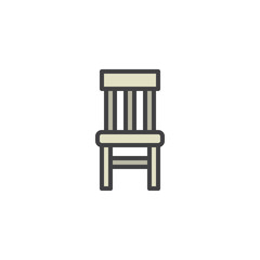 Chair filled outline icon, line vector sign, linear colorful pictogram isolated on white. Stool symbol, logo illustration. Pixel perfect vector graphics
